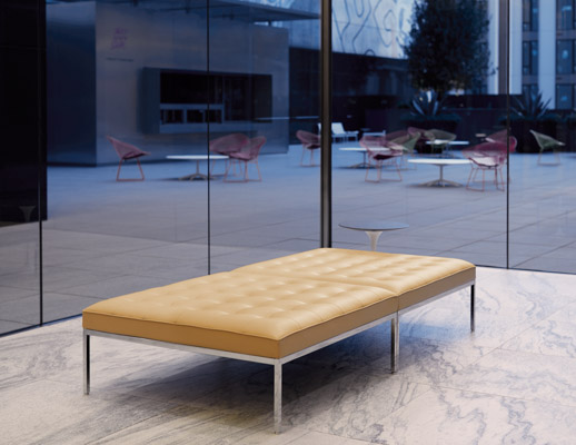 florence knoll relaxed benches small square bench saarinen side table lobby shared spaces community