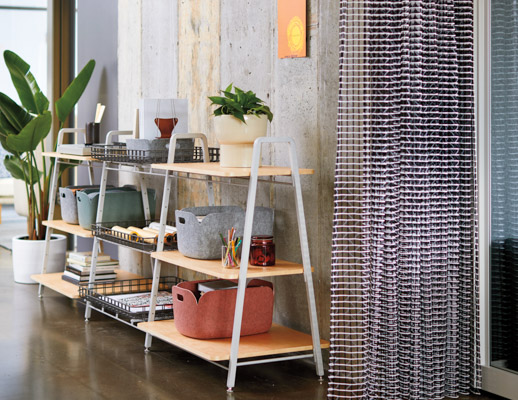 rockwell unscripted creative wall with knolltextiles drapery modular storage shelves muuto accessories restore basket tray