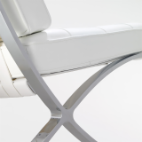 Barcelona Chair white leather leg detail