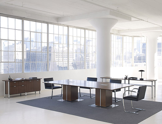 Propeller Conference Table with Square Drum Base,