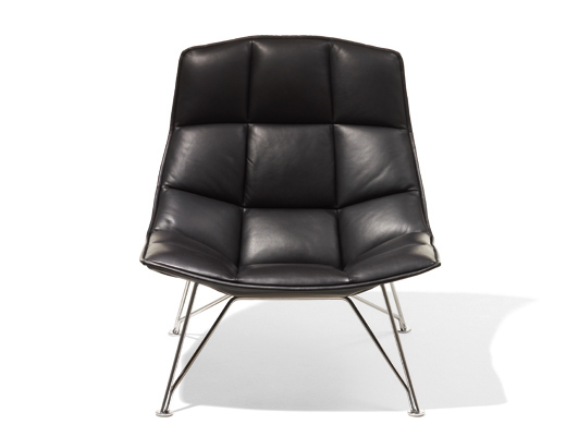 Jehs+Laub Tan Leather Lounge Chair With Polished Chrome Wire Base ...