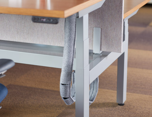 k. bench height-adjustable benching cable management detail felt