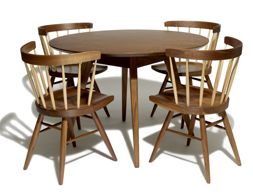 Jens Risom Round Table And Wood Nakashima Straight Chairs