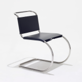 MR Side Chair by Mies van der Rohe with stainless steel frame and black cowhide