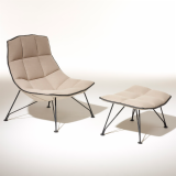 Jehs+Laub Lounge Chair with wire base in white Cornaro KnollTextiles upholstery