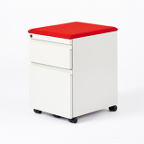 Knoll Series 2 Mobile Pedestal in White and Red