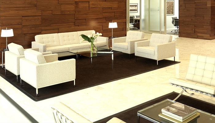Waiting area with Florence Knoll Lounge Collection and Barcelona® Table