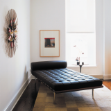 Barcelona Couch with Saarinen Side Table