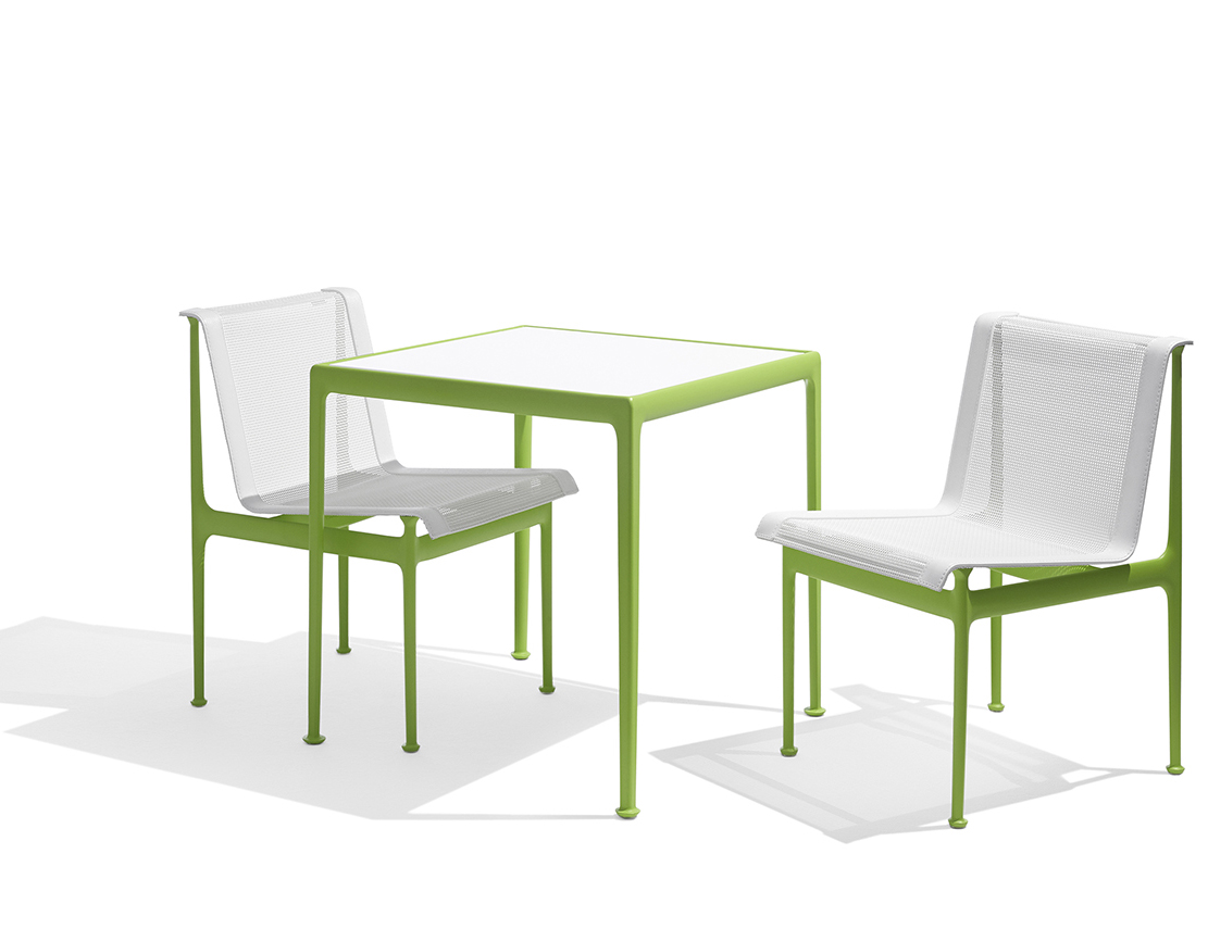 1966 Collection Dining Armless Chair Square Dining Table lime green Richard Schultz patio outdoor furniture