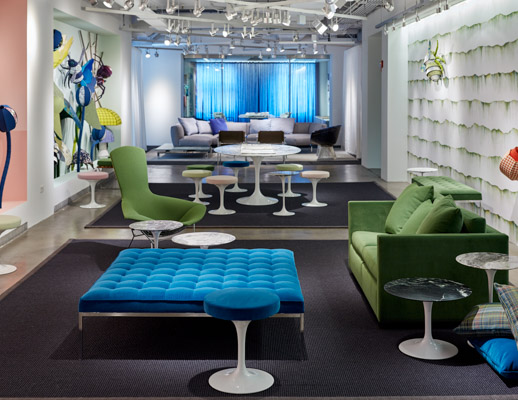 neocon 2018 hospitality at work knolltextiles display florence knoll bench saarinen tulip stools bertoia bird chair