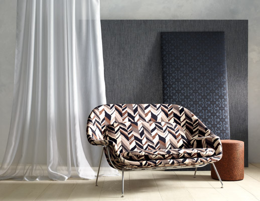 knoll textiles the shape of things collection color collage upholstery imprint  block party wallcovering wrapped panel script mini mesh drapery womb settee