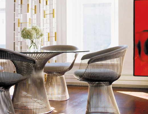 Platner Dining Table and Arm Chairs