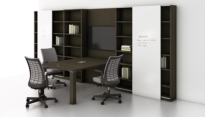 Reff Profiles™ Media Enclave with Remix™ Work Chairs
