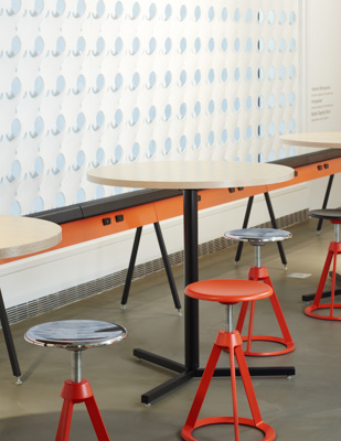NeoCon 2015 Antenna Design Horsepower Barber Osgerby Adjustable Height Stool Antenna Simple Table Y-Base Round showroom