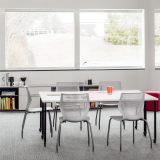 Knoll white Antenna Simple Table with grey legs, grey MulitGeneration by Knoll chairs and Interpole for Activity Spaces