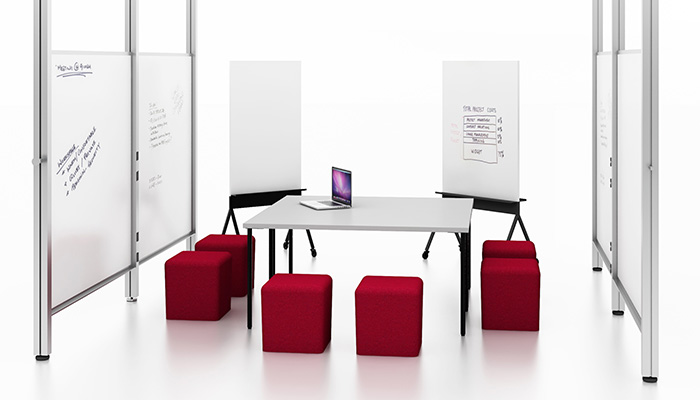 Simple Tables with Interpole™, k.™ lounge Poufs and Scribe™ Mobile Markerboards