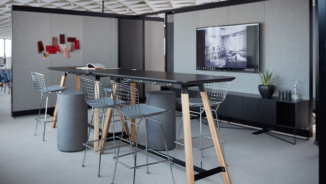 Knoll Shared Spaces Team Meeting with Rockwell Unscripted Creative Wall and Tall Tables