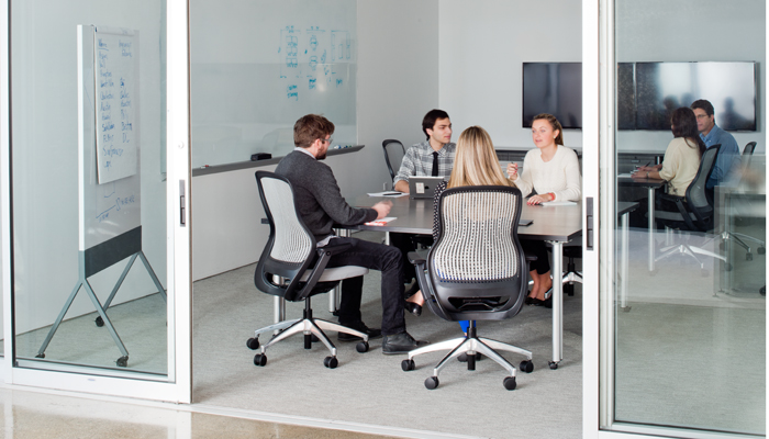 Propeller® Training Tables with ReGeneration by Knoll® Task Chairs and Scribe™ Mobile Markerboard