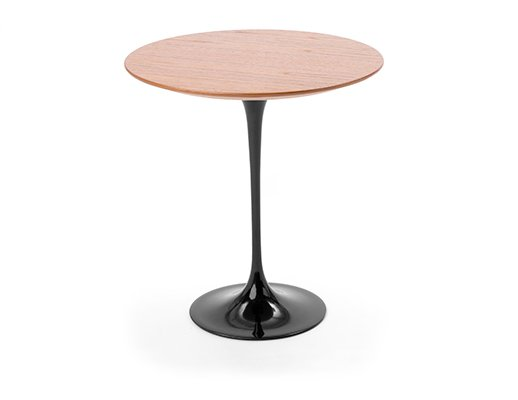 Eero Saarinen Side Table with black base and teak top