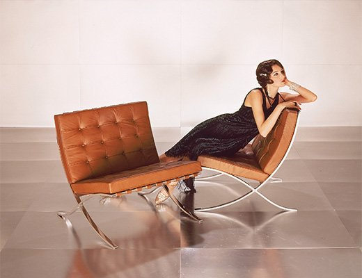 Poster of Barcelona Chair with Fashion Model