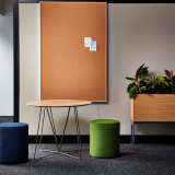 neocon 2018 hospitality at work rockwell unscripted creative wall occasional table upholstered seats touchdown space