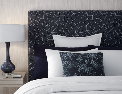 Arrondissement Headboard Grand Boulevard Wallcovering Olema & Summit Pillows