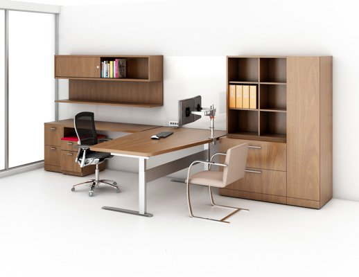Reff Profiles Private Office transitional wood veneer Life Chair Brno Chair flat bar