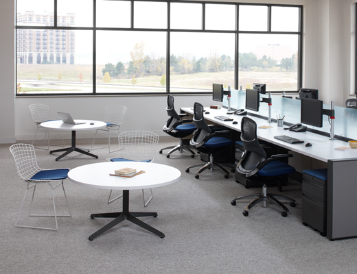 Dividends Horizon open plan benching with frosted glass dividers