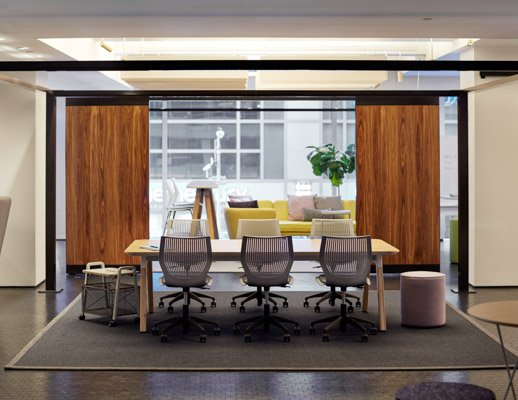 rockwell unscripted creative wall multigeneration by knoll sawhorse table