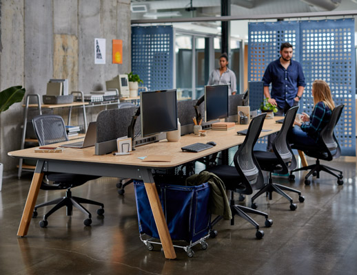 rockwell unscripted sawhorse workbench regeneration by knoll mobile storage bin canvas bin modular storage creative wall filzfelt hanging panels sapper xyz monitor arm workstations touchdown individual work task chair work chair