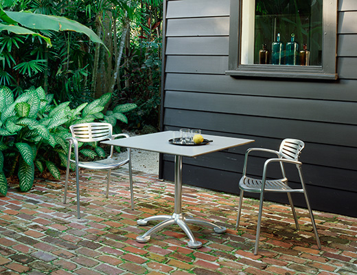 Toledo Stacking Chair and Pensi Table for indoor or outdoor use