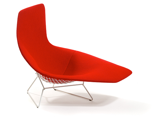 Bertoia, Asymmetric, Chaise, in, red, upholstery