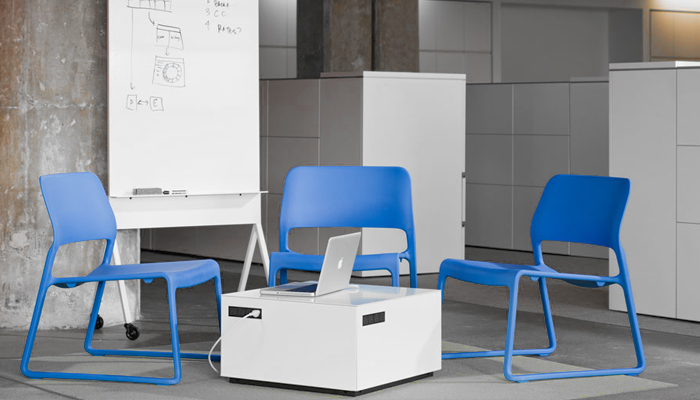 Scribe Mobile Markerboard™, Spark® Series Lounge Chair and Power Cube
