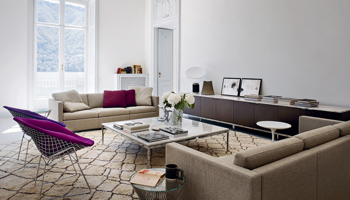 Pfister Sofa, Bertoia Diamond Chairs, Florence Knoll Credenzas