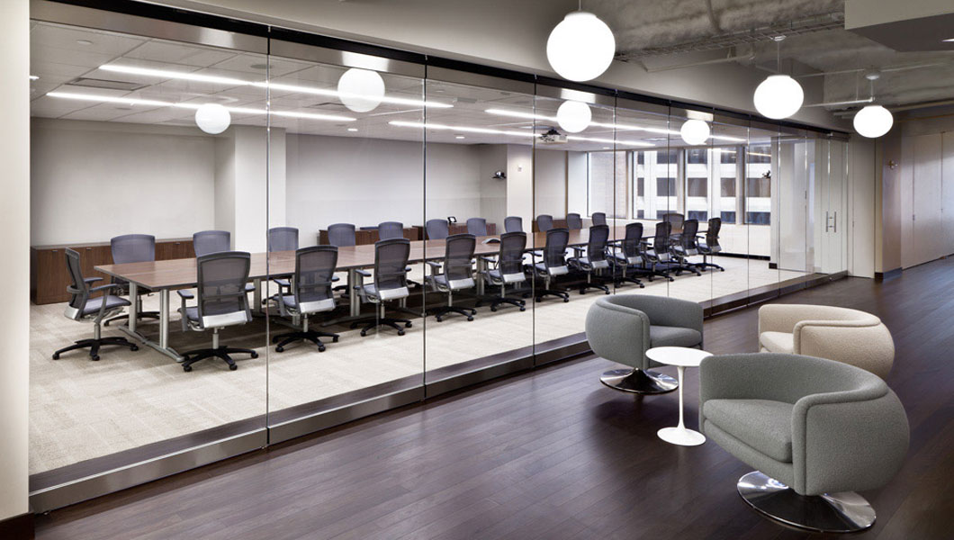 Knoll Shared Spaces Assembly Space with Propeller Conference Table and Life Chairs