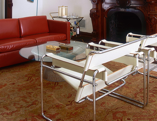 Breuer Wassily Lounge Chair; Wassily Chairs With White Leather Straps  Residential Installation ...