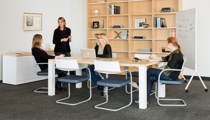 Reff Profiles® Table with Moment™ Side Chairs and Scribe™ Mobile Markerboard