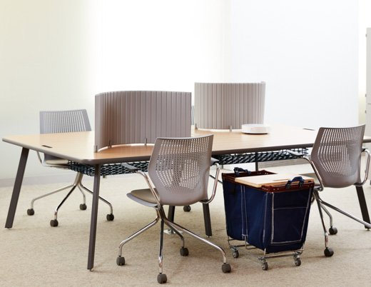 flexible work group work privacy hotelling shared space workstation