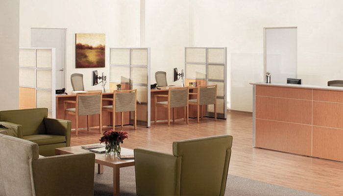 Patient reception and registration area with Reff Profiles™, Krefeld Lounge, Life® Chairs and Ricchio Chairs