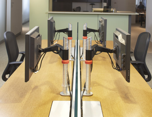 Crinion Open Table shown here with Sapper Monitor Arms