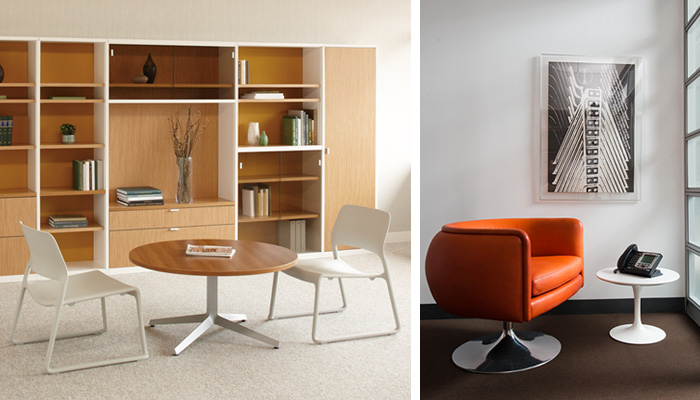Left: Spark Series® Lounge Chair and Dividends Horizon Low Table. Right: D