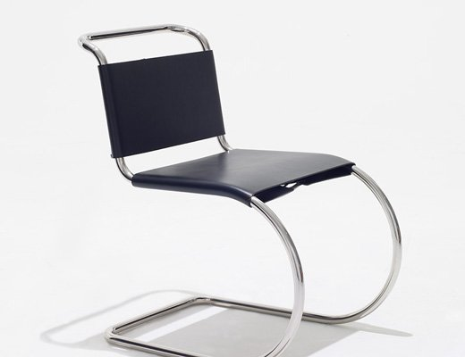 ... MR Side Chair By Mies Van Der Rohe With Stainless Steel Frame And Black  Cowhide ...