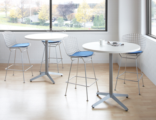 Dividends Horizon High Meeting Table with Bertoia bar stools