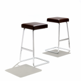 Four Seasons Barstool by Mies van der Rohe in brown leather