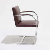 Flat Bar Brno Chair in brown leather upholstery