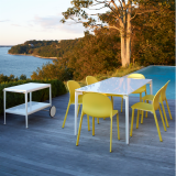 Knoll Stromborg Table and Olivares Aluminum Side Chair