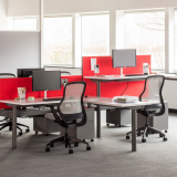 Knoll sit to stand adjustable height benching system with red privacy screens and wire management