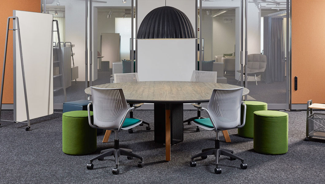 Knoll Shared Spaces Team Meeting with Rockwell Unscripted Sawhorse Table and MultiGeneration Seating