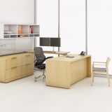 Reff Profiles private office preconfigured desk with recessed gable open overhead with center gable marker board task panel height adjustable table file file storage