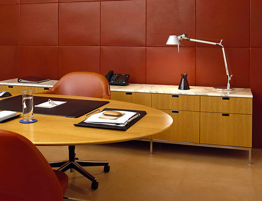 Florence Knoll Table Desk and Florence Knoll Credenza in Natural Oak veneer